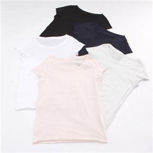 5枚セット コーマ糸ベーシックボートネック半袖Tシャツ A (ホワイト・ブラック・ネイビー・シャーベットブルー・シャーベットピンク)
