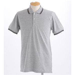 肌ざわり最高 コーマ糸襟ラインポロシャツ メランジグレー Mサイズ