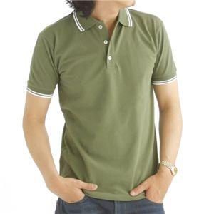 肌ざわり最高 コーマ糸襟ラインポロシャツ カーキ Lサイズ
