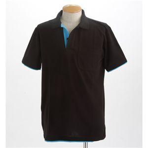 3Lまで!ベーシックレイヤードポロシャツ ブラック Mサイズ