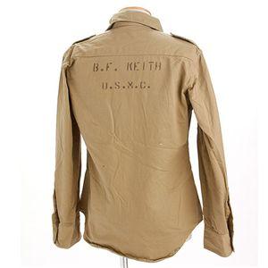 US軍コットンカーキシャツ カーキ/文字系 Lサイズ