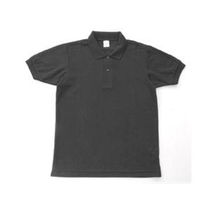 無地鹿の子ポロシャツ ブラック S