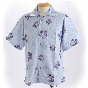 沖縄製 麻混ハイビスカスかりゆしシャツ サックス EL