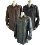 ドイツ軍放出 BW フィールドシャツ・後染め ブラウン JS001ND GR.3(L)【デットストック】