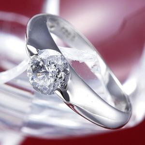 PT900(プラチナ)0.9ctダイヤモンドリング(指輪)159713 15号【鑑別書付き】