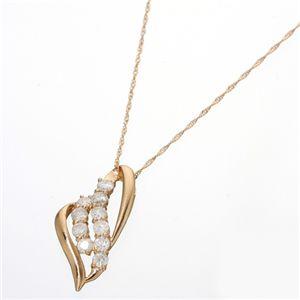 K18 計約0.5ct シェイプオープンハートダイヤモンドペンダント(18金ネックレス)184111 ピンクゴールド 42cm