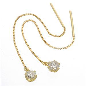 K18/0.3ctダイヤモンドチェーンピアス イエローゴールド