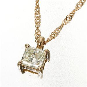 ダイヤモンドプリンセスカットペンダント ピンクゴールド