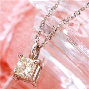 純プラチナ プリンセスカットダイヤモンドネックレス 計0.15アップCT