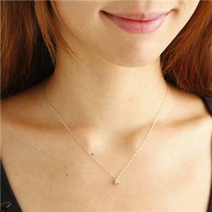 純プラチナ0.2ctプリンセスダイヤモンドネックレス