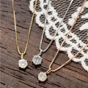 0.1ctダイヤモンドペンダント/ネックレス(ベネチアンチェーン) 18Kイエローゴールド