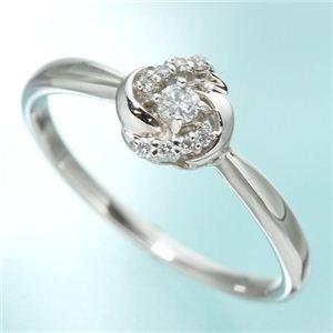 プラチナ0.09 ダイヤモンドフラワーリング 15号