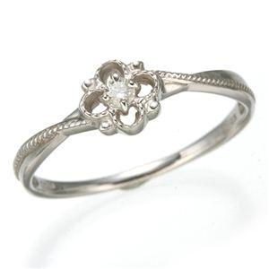 K10 ホワイトゴールド ダイヤモンドスプリングリング 184282 15号