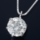 K18WG 0.5ctダイヤモンドペンダント/ネックレス ベネチアンチェーン(鑑別書付き)