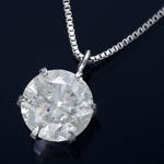 K18WG 1ctダイヤモンドペンダント/ネックレス ベネチアンチェーン(鑑別書付き)
