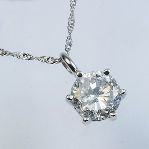 Pt900超大粒1.5ctダイヤモンドネックレス (鑑定書付き)