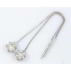 プラチナ 0.6ct一粒ダイヤモンドチェーンピアス
