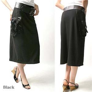 デザインAラインニットロングスカート 25410-N ブラック LL