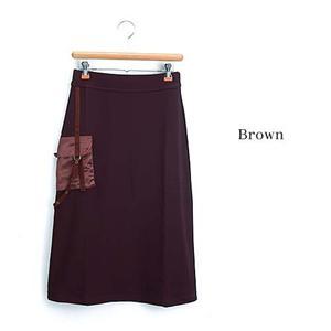デザインAラインニットロングスカート 25410-N ブラウン LL