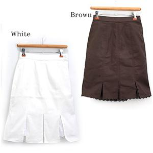 8枚接ぎ裾レーススカート 26132-D ブラウン L