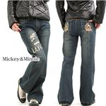 超ラブリーなミッキーアイテム♪Mickey&Minnieデザインデニムパンツ ブラック L