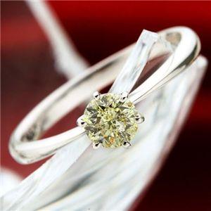 K18WGアイスカナリアダイヤモンド0.45ctリング 7号の宝石