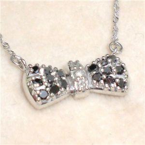 K18WG ダイヤモンド0.3ct リボンペンダント