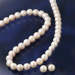 大珠8〜8.5mm珠 あこや真珠 パールネックレス&パールピアス 鑑別付