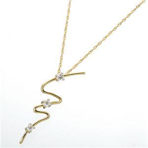 K14/YG ウェービーダイヤモンド3ストーンペンダントのデザイン