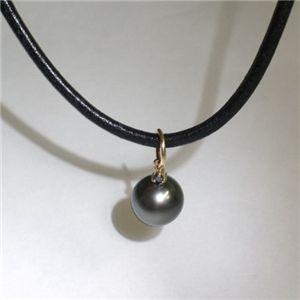 K18 タヒチ黒蝶真珠9mm&ダイヤモンドペンダント ブラックダイヤ×ブラック革紐(FMPTM454)