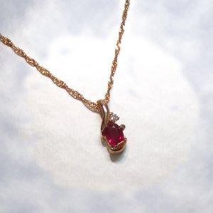 K18PGルビー0.2ct ダイヤモンドペンダント/ネックレス