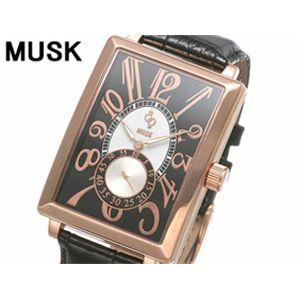 MUSK(ムスク) メンズクラシカル レザーウォッチ MP2197-05 ピンクゴールド
