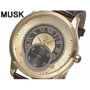 MUSK(ムスク) メンズクラシカル レザーウォッチ MP2198-01 ゴールド