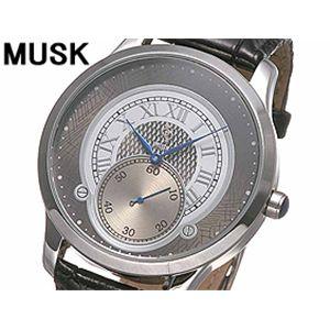 MUSK(ムスク) メンズクラシカル レザーウォッチ MP2198-02 シルバー