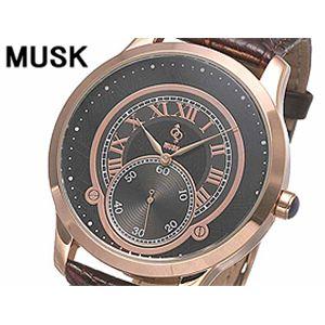 MUSK(ムスク) メンズクラシカル レザーウォッチ MP2198-05 ピンクゴールド