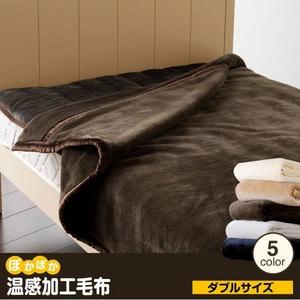 ぽかぽか温感加工毛布 ダブル シルバー