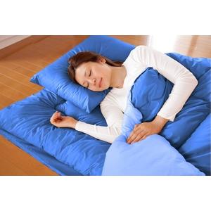 マットレス付きふかふか増量羽根布団寝具 7点セット シングルサイズ ディープブルー×ライトブルー