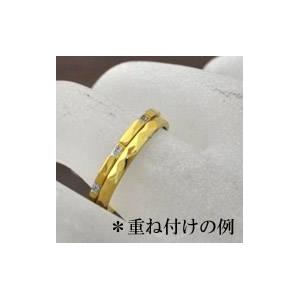 ステンレスリング ダイヤモンドカット細身リング ゴールドカラー 11号