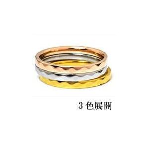 ステンレスリング ダイヤモンドカット細身リング ピンクゴールドカラー 13号