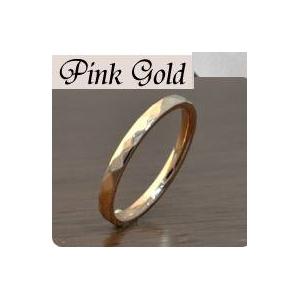 ステンレスリング ダイヤモンドカット細身リング ピンクゴールドカラー 19号