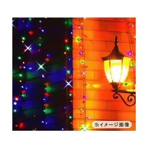 <ソーラー充電式>LEDイルミネーションカラフルライト(96灯)カーテンタイプ(1×1m)