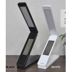 【ブラック】時計付き充電式折り畳みLEDデスクライト 携帯できるコンパクトさ!
