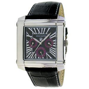 LNCIANO VALENTINO(ルチアノ バレンチノ) マルチファンクション 腕時計 LV-1025-02/ シルバーケース・ブラック(パープル)、黒ベルト