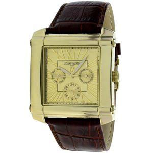 LNCIANO VALENTINO(ルチアノ バレンチノ) マルチファンクション 腕時計 LV-1025-03/ ゴールドケース・ゴールド、茶ベルト