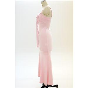 ドレス キャバクラドレス パーティードレス 胸元Aラインリボンマーメイド(ピンク)