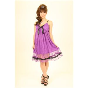 ドレス キャバクラドレス パーティードレス レースミドル丈ワンピ 紫(パープル)