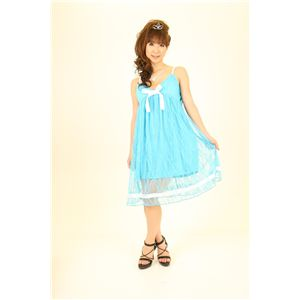 ドレス キャバクラドレス パーティードレス レースミドル丈ワンピ (水色)