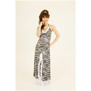 ドレス キャバクラドレス パーティードレス ゼブラ柄セクシースリット 白(ホワイト)