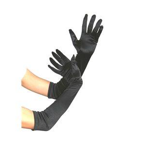 手袋 ロング サテン 黒(ブラック)