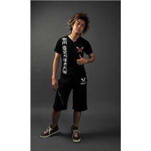 VネックTシャツ&ハーフパンツ 黒/黒